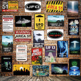 [ Mike86 ] Wanring AREA 51 I WANT TO BELIEVE UFO Aliens Metal Sign Wall Plaque Poster Custom Painting Room Decor Art LT-1695 - one46.com.au