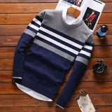 Male Knitwear Sweaters warm Round Collar pullovers 2019 spring autumn streetwear fashion Stitching Korean Slim men clothing - one46.com.au