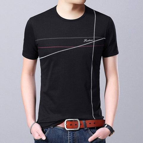 2019 New Fashion Brand T Shirts For Men O Neck Trends Street Wear Tops Trending Summer Striped Short Sleeve Tee Men Clothes - one46.com.au
