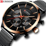 Quartz Business Stainless Steel Watch Men Mesh Band Fashion  Clock Waterproof Sport Watches for Men Casual  CURREN Wristwatch - one46.com.au