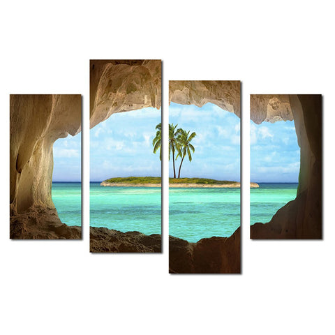11449 4 Island Coconut Painting Outside The Cave Frameles Painting Decoration Art Canvas Modern Home Decoration Painting - one46.com.au