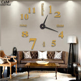 Stickers 9inch 3D Wall Art Mirror Modern DIY Shape Room Golden Living New Decoration Pack Clock Silver Home - one46.com.au