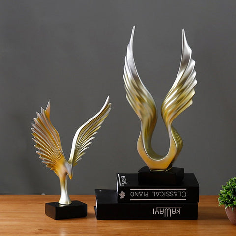 Wings Figurines Resin Ornaments Creative Wings Statue Retro Desktop Crafts Artwork Home Office Decoration - one46.com.au