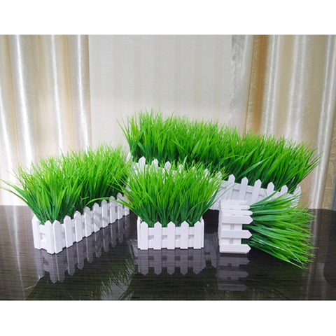 Fake Plant Pot Decoration Artificial Grass White Wooden Fence Potted Decoration  E2S - one46.com.au