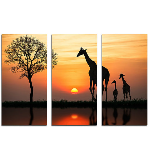 11801 Big Sunset Giraffe Frameles Oil Painting Canvas Painting Decoration Art Canvas Modern Home Decoration Painting - one46.com.au