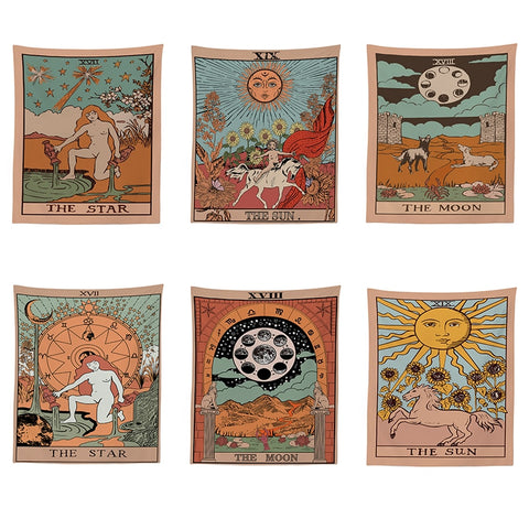 Tarot Divine Mandala Tapestry Hippie Boho Decor Psychedelic Tapestry Macrame Wall Hanging Witchcraft Wall Cloth Tapestries Throw