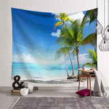 Tropical Palm Tree Leaves Tapestry Wall Hanging Seaside Sunset Landscape Tapestries Yoga Beach Towel Bohemian Decor for Home - one46.com.au
