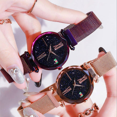 Women Fashion wild Starry sky watch Milan Magnet Buckle Luxury Fashion Ladies Geometric Surface Roman Numeral Quartz Watch