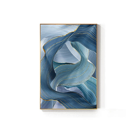 Abstract Blue Gold Foil Annual Ring Canvas Art Modern Blue and Gold Poster Luxury Wall Picture for Living Room 3D Place Tableau - one46.com.au