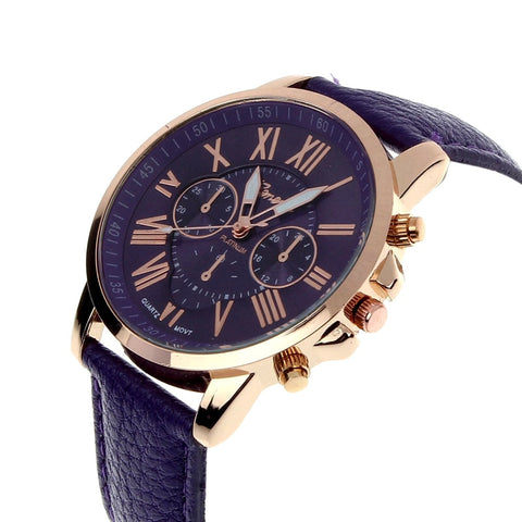 df9746be8562a Luxury Fashion Casual Gold Red Women Watches Faux Leather Women's Geneva  Roman Numerals Faux Leather 2019 Analog Quartz Watch Q