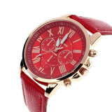 Luxury Fashion Casual Gold Red Women Watches Faux Leather Women's Geneva Roman Numerals Faux Leather 2019 Analog Quartz Watch Q - one46.com.au