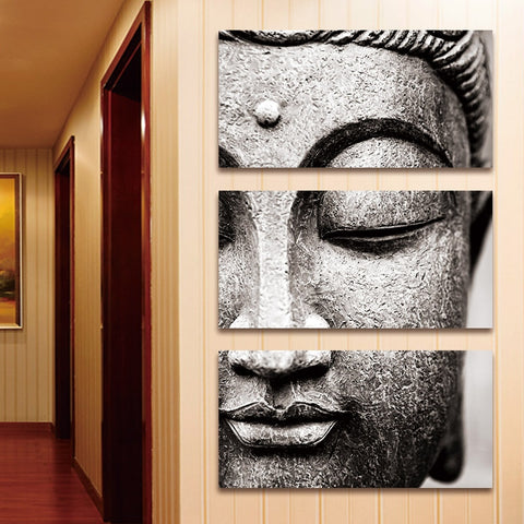 Canvas painting Wall Art pictures Gray 3 Panel Modern Large Oil Style poster Buddha Wall Print Home Decor for Living Room - one46.com.au