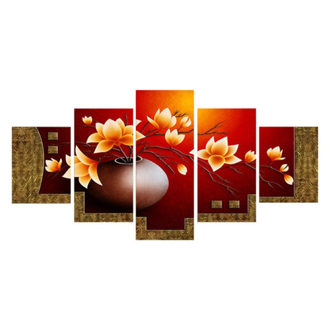5 Pieces Canvas Painting Wall Pictures For Living Room Home Decorations Poster Modern Flower Vase Art Prints Oil Paintings Gifts - one46.com.au
