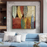 Abstract Colorful Leaves Canvas Painting Retro Green Plant Poster Print Fashion Decor Square Wall Art Picture For Living Room HD - one46.com.au