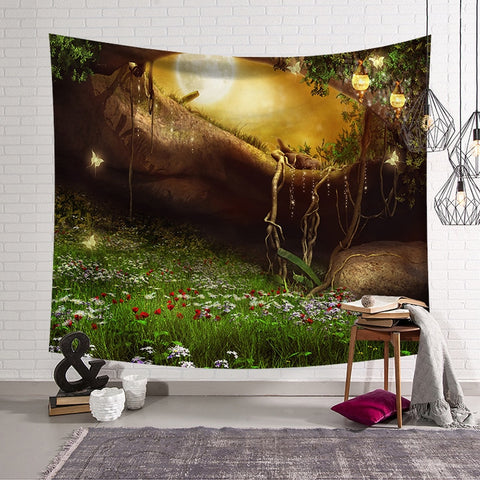 Tree Scenery Tapestry Home Decorations Wall Hanging Wall Tapestry Blanket Farmhouse Decor  Window Tapestry 4 Size Psychedelic