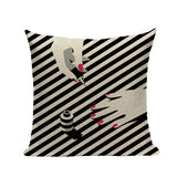 Fashion Women Cushion Cover Linen Girl Printing Throw Pillow Case Black Striped Romantic Red Wine Decorative Pillow Cover - one46.com.au