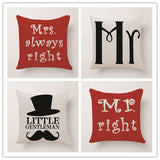 Cushion Cover Home Sweet Pillow Case Cotton Linen Mr Right Cushion Sofa Bedroom Decorative Pillow Cover - one46.com.au