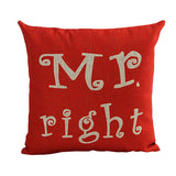 Newlywed Pillowcase Slip Mr Right&Mr Always Right Red Color Cushion Case Pillow Cover for Bedroom Living Room -35 - one46.com.au