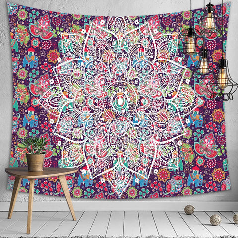 Psychedelic Bohemian Mandala Printed Polyester Tapestry Wall Hanging For Decorate Home Living Room Bedroom Office 3 Sizes