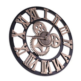 European Style Wall Clock Vintage Creative Round Wooden Wall Clock Home Office Cafe Hanging Home Decoration Clock - one46.com.au
