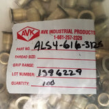 Qty 73, AVK Knurled Threaded Inserts, ALS4-616-312S, Zinc Coated Steel, 3/8-16