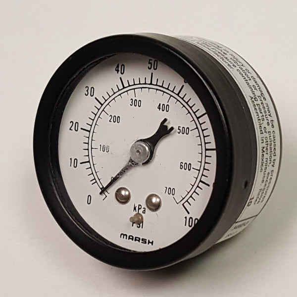 "Marsh 1 1/2"" Pressure Gauge, 0-100 PSI, 1/8 NPT"