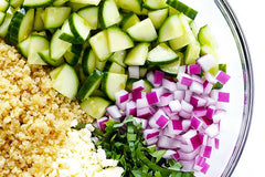 deconstructed cucumber quinoa salad