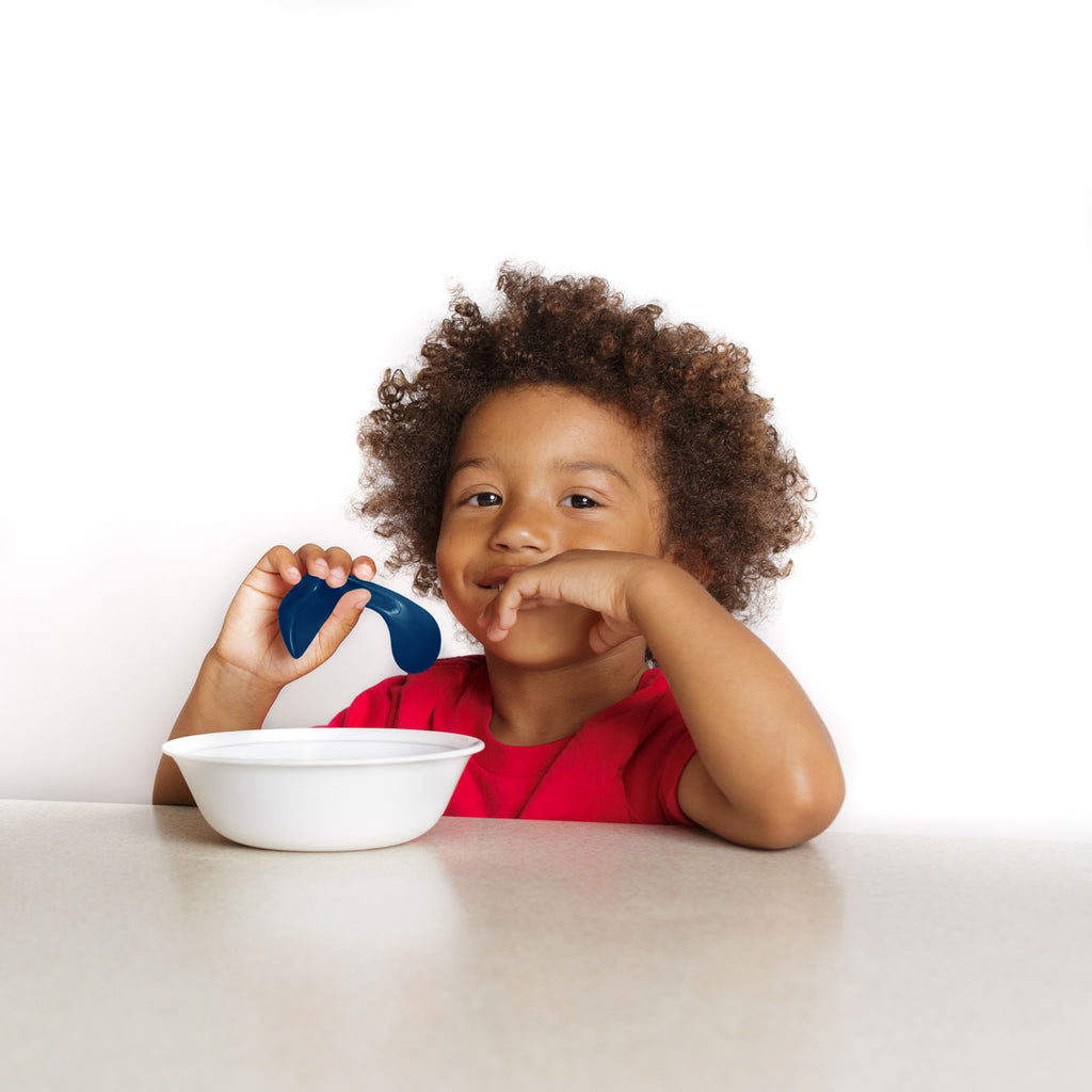 curved baby and toddler spoon for self-feeding in blue