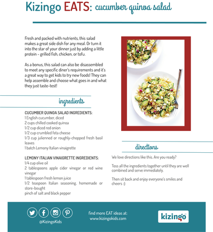 Kizingo EATS: cucumber quinoa salad recipe