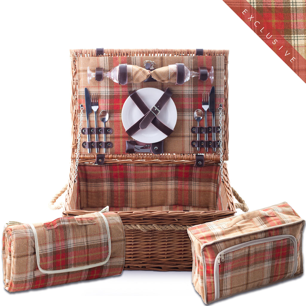 Amber red tartan wicker hamper for two Complete with blanket, cutlery, plates and chiller bag. Now comes with personalisation. Eaton Hampers and Basketeware | wicker hamper | Quality | Willow | Real Leather | Glass | China plates | Stainless Steel Cutlery | Cooler Bag | Blanket | Handle | New | Leather | Christmas gifts | Weddings gift ideas | Romantic gifts