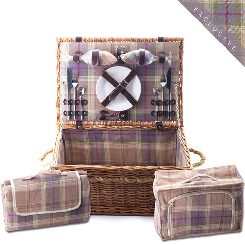 Grey Tartan Hamper for 2 - Eaton Hampers & Basketware