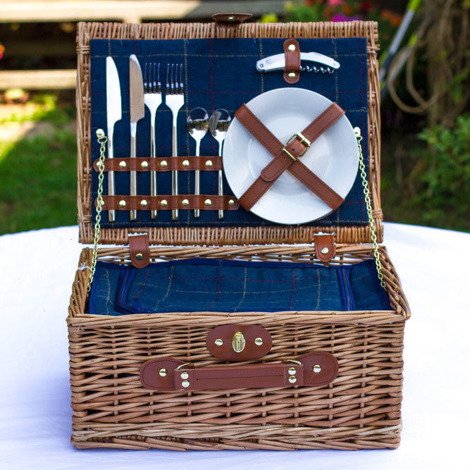 Blue Tweed Hamper for 2 - Eaton Hampers & Basketware