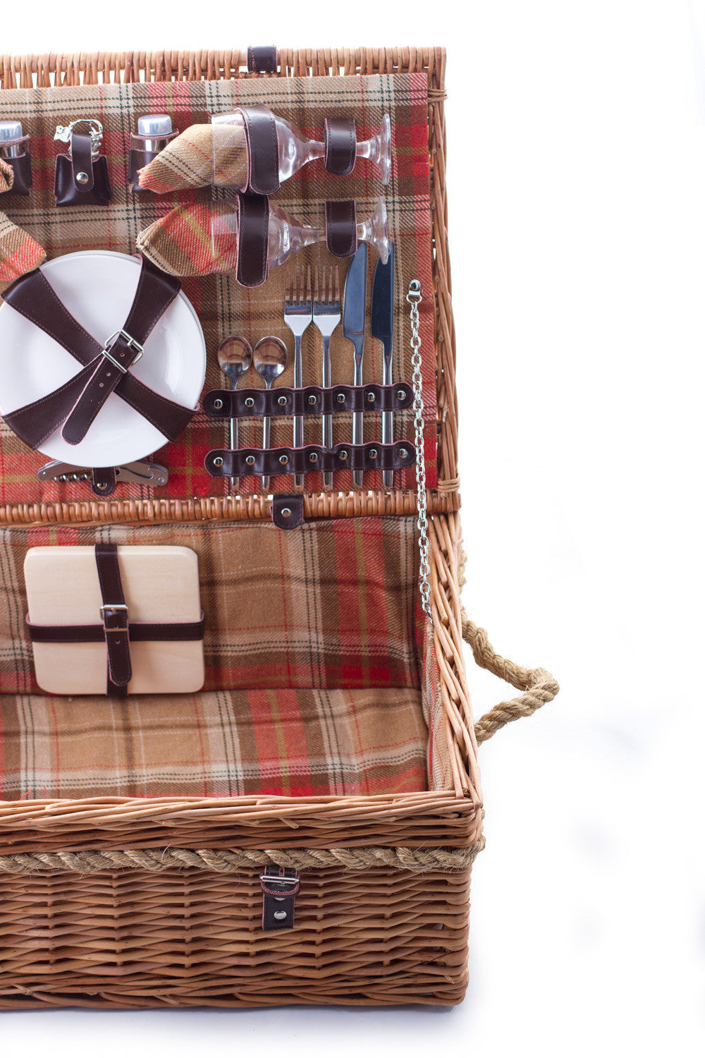 Amber red tartan wicker hamper for six Complete with blanket, cutlery, plates and chiller bag. Now comes with personalisation. Exclusive to Eaton Hampers and Basketeware
