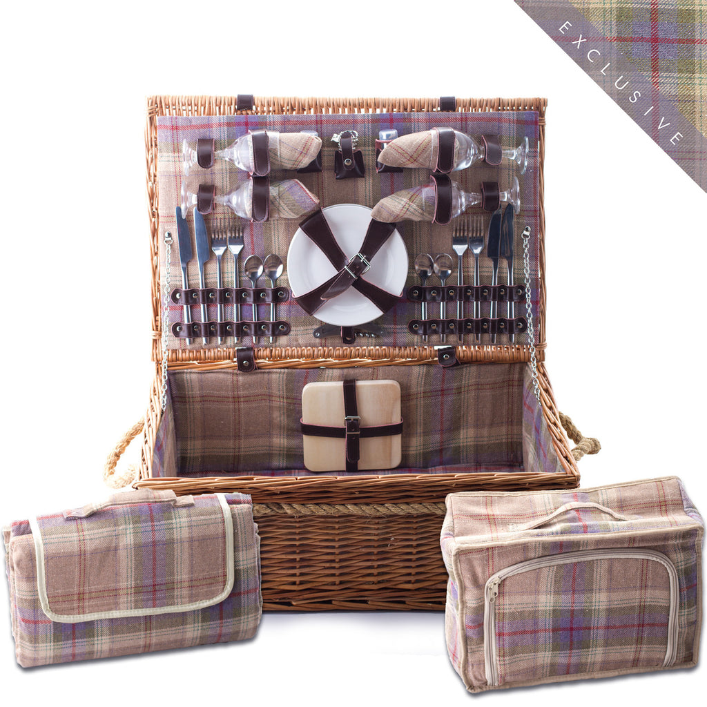 Lavender and ivory grey and blue tartan wicker hamper for Four Complete with blanket, cutlery, plates and chiller bag. Now comes with personalisation. Exclusive to Eaton Hampers and Basketeware  | wicker hamper | Quality | Willow | Real Leather | Glass | China plates | Stainless Steel Cutlery | Cooler Bag | Blanket | Handle | New | Leather | Christmas gifts | Weddings gift ideas | Romantic gifts