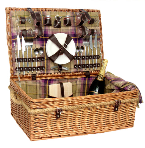 Purple Tartan Hamper for 4 - Eaton Hampers & Basketware