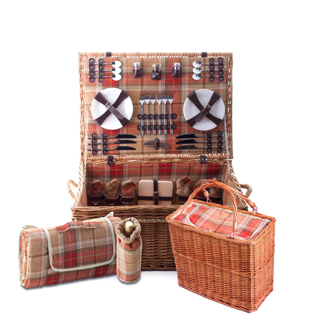 Amber Tartan Hamper for 6 - Eaton Hampers & Basketware