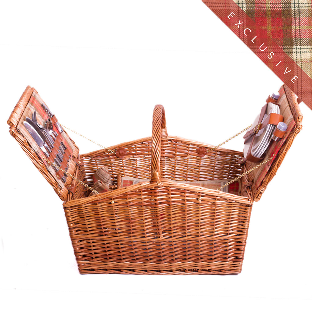 Amber barn red tartan wicker hamper for four Complete with blanket, cutlery, plates and chiller bag. Now comes with personalisation. Exclusive to Eaton Hampers and Basketeware