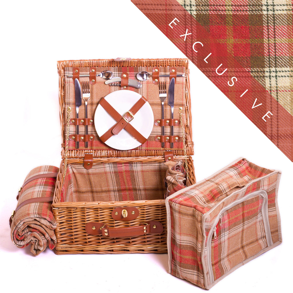 Amber red tartan wicker suitcase hamper for two Complete with blanket, cutlery, plates and chiller bag. Now comes with personalisation. Exclusive to Eaton Hampers and Basketeware  | wicker hamper | Quality | Willow | Real Leather | Glass | China plates | Stainless Steel Cutlery | Cooler Bag | Blanket | Handle | New | Leather | Christmas gifts | Weddings gift ideas | Romantic gifts