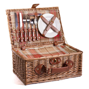 Amber red tartan wicker hamper for two , cutlery, plates and chiller bag. Now comes with personalisation. Eaton Hampers and Basketeware | wicker hamper | Quality | Willow | Real Leather | Glass | China plates | Stainless Steel Cutlery | Cooler Bag | Blanket | Handle | New | Leather | Christmas gifts | Weddings gift ideas | Romantic gifts