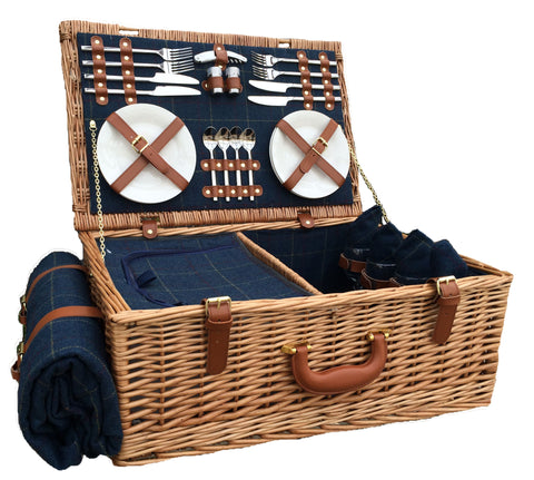 Blue Tweed Hamper for 4 - Eaton Hampers & Basketware