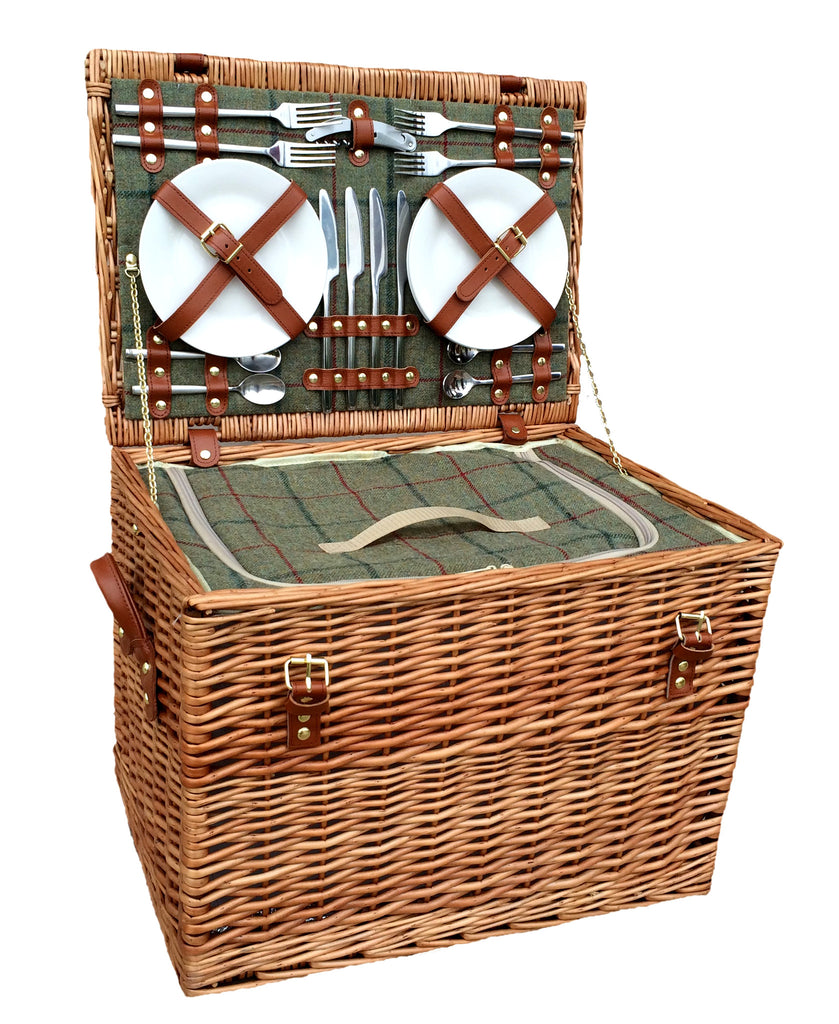 Green Tweed Chest Hamper for 4 - Eaton Hampers & Basketware