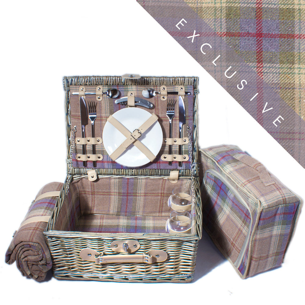 Grey Tartan Suitcase Hamper for 2 - Eaton Hampers & Basketware Lavender and ivory grey and blue tartan wicker hamper for two Complete with blanket, cutlery, plates and chiller bag. Now comes with personalisation. Exclusive to Eaton Hampers and Basketeware