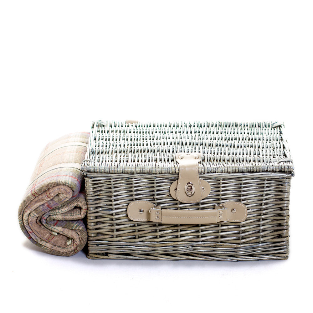 Exclusive Grey tartan lightweight two person wicker suitcase hamper | Quality | Willow | Real Leather | Glass | China plates | Stainless Steel Cutlery | Cooler Bag | Blanket | Handle | New | Leather | Christmas gifts | Weddings gift ideas | Romantic gifts