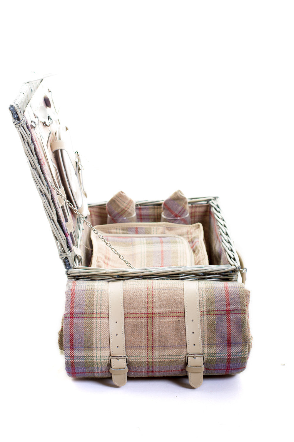 Exclusive Grey tartan lightweight two person wicker suitcase hamper | Quality | Willow | Real Leather | Glass | China plates | Stainless Steel Cutlery | Cooler Bag | Blanket | Handle