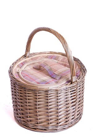 Grey Tartan Round Chiller - Eaton Hampers chiller bag. Now comes with personalisation. Exclusive to Eaton Hampers and Basketeware  | wicker hamper | Quality | Willow | Cooler Bag | Handle | New | Christmas gifts | Weddings gift ideas | Romantic gifts