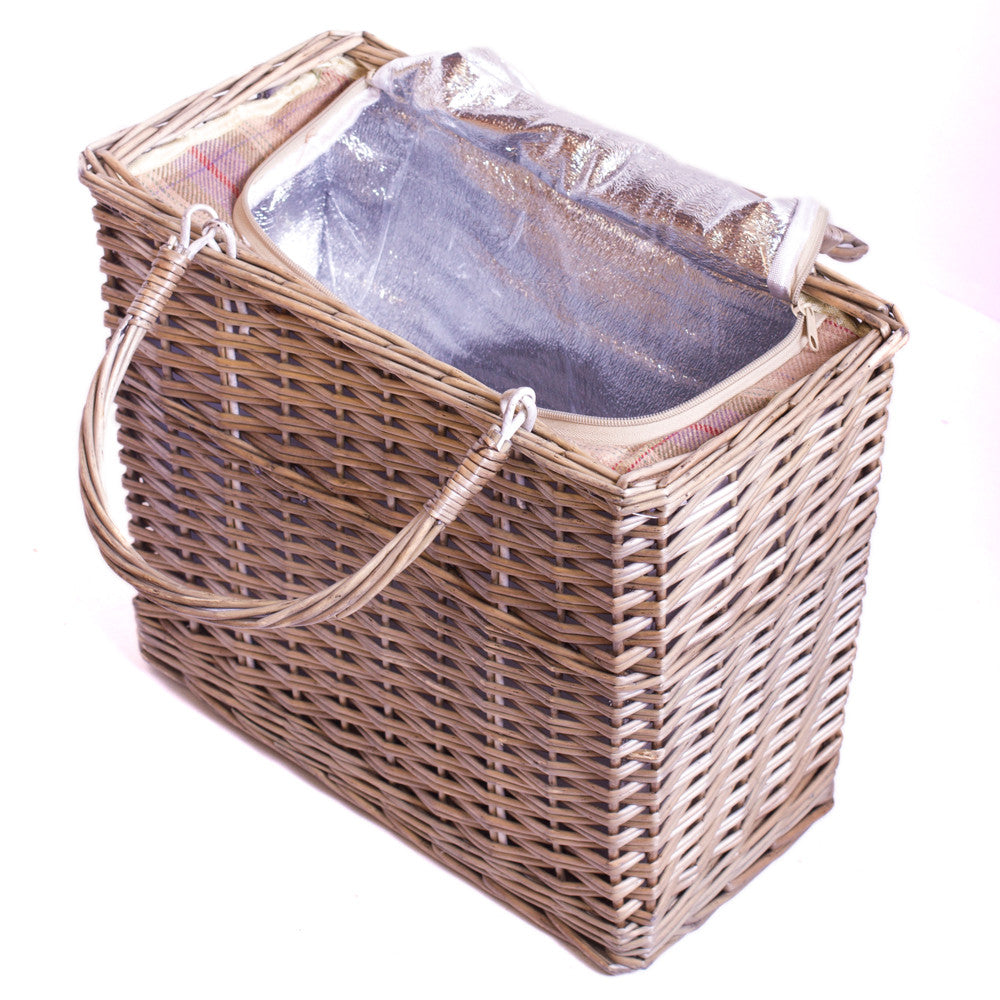 Grey Tartan Rectangular Chiller - Eaton Hampers & Basketware