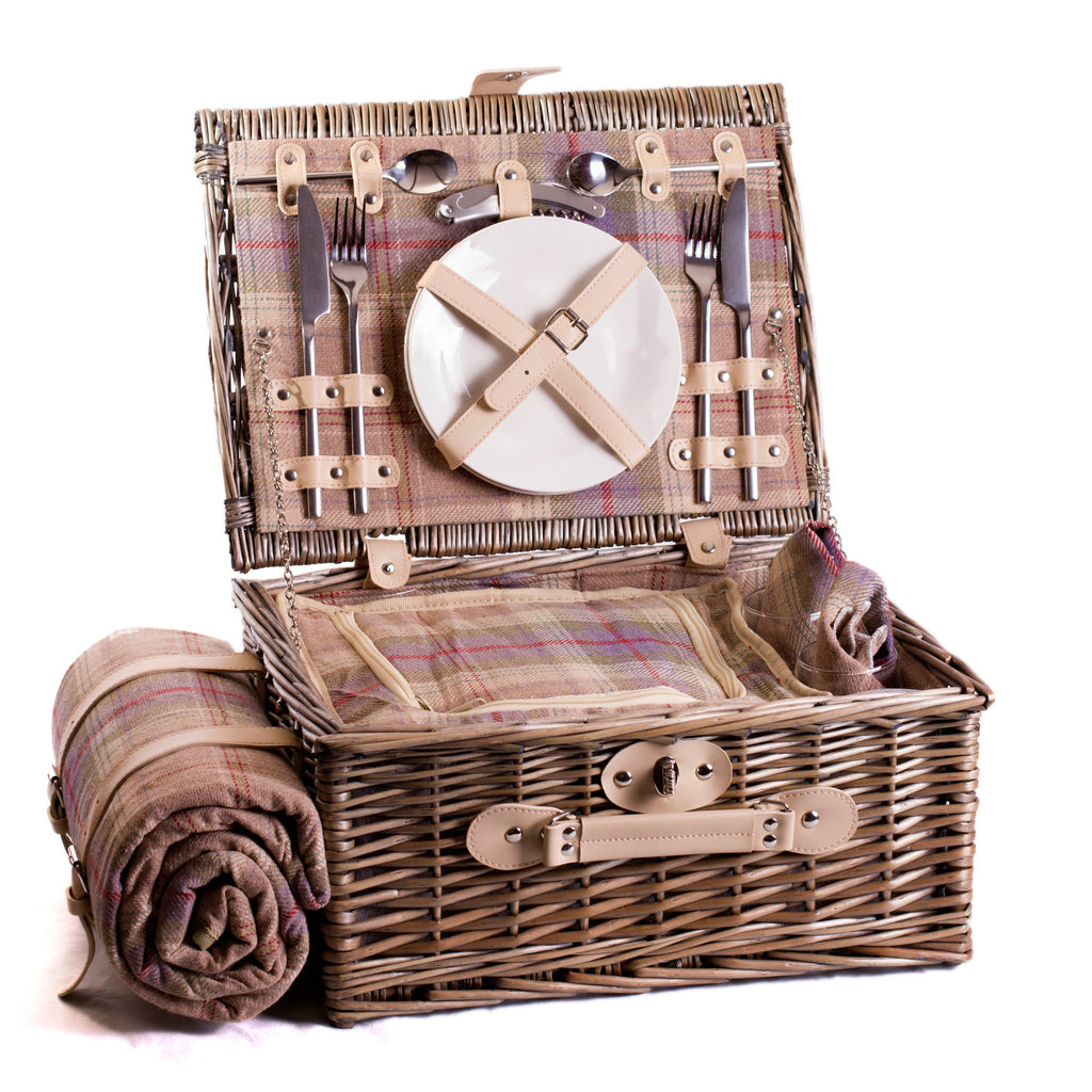Lavender and ivory grey and blue tartan wicker hamper for two Complete with blanket, cutlery, plates and chiller bag. Now comes with personalisation. Exclusive to Eaton Hampers and Basketeware  | wicker hamper | Quality | Willow | Real Leather | Glass | China plates | Stainless Steel Cutlery | Cooler Bag | Blanket | Handle | New | Leather | Christmas gifts | Weddings gift ideas | Romantic gifts