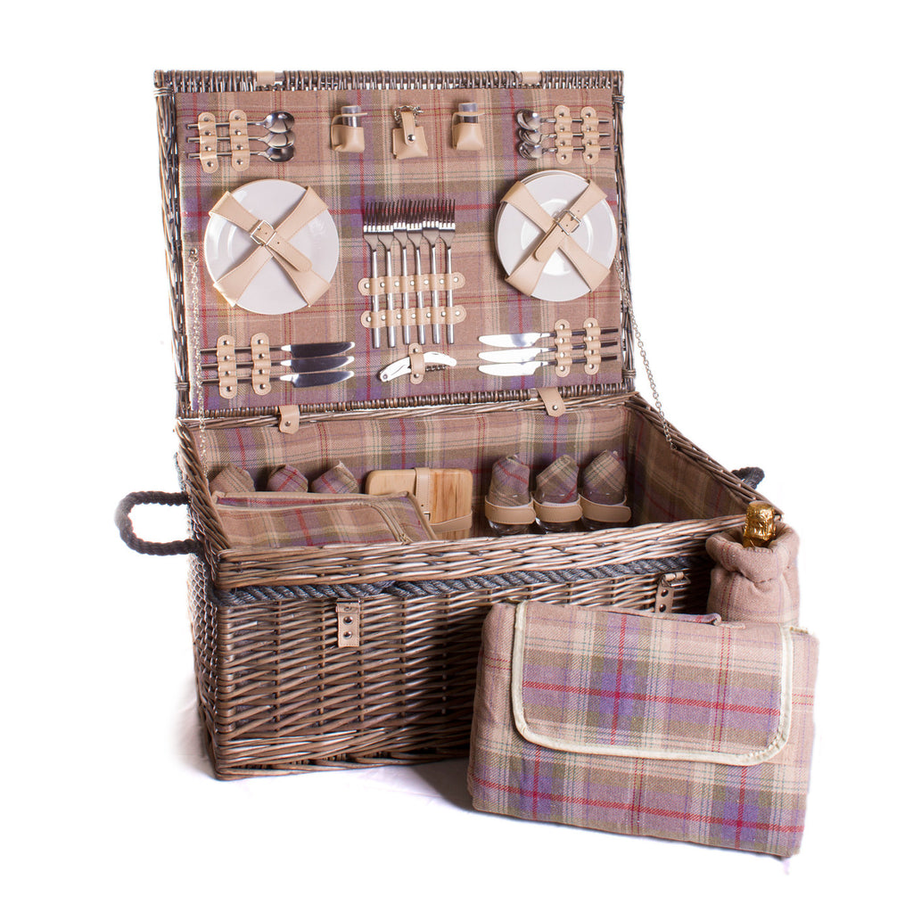 Lavender and ivory grey and blue tartan wicker hamper for six Complete with blanket, cutlery, plates and chiller bag. Now comes with personalisation. Exclusive to Eaton Hampers and Basketeware | wicker hamper | Quality | Willow | Real Leather | Glass | China plates | Stainless Steel Cutlery | Cooler Bag | Blanket | Handle | New | Leather | Christmas gifts | Weddings gift ideas | Romantic gifts