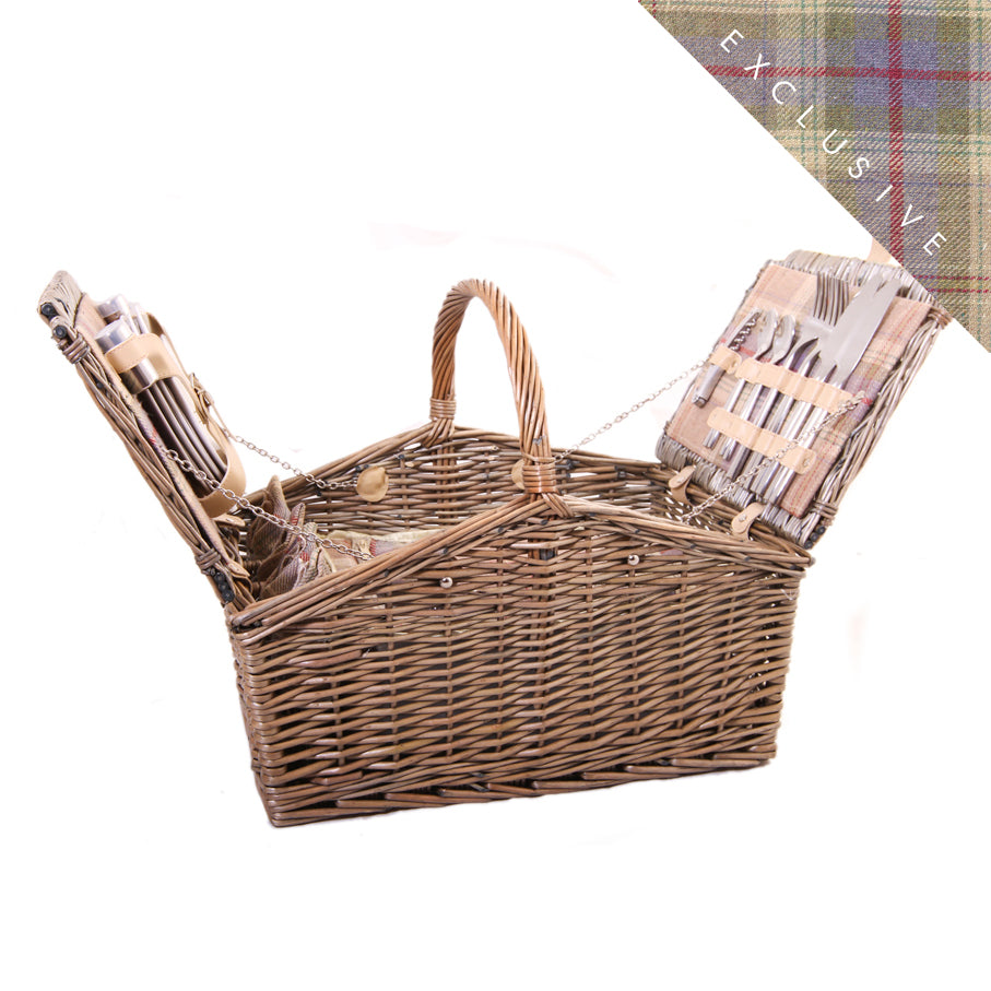 Lavender Tartan Barn Hamper for 4 - Eaton Hampers & Basketware
