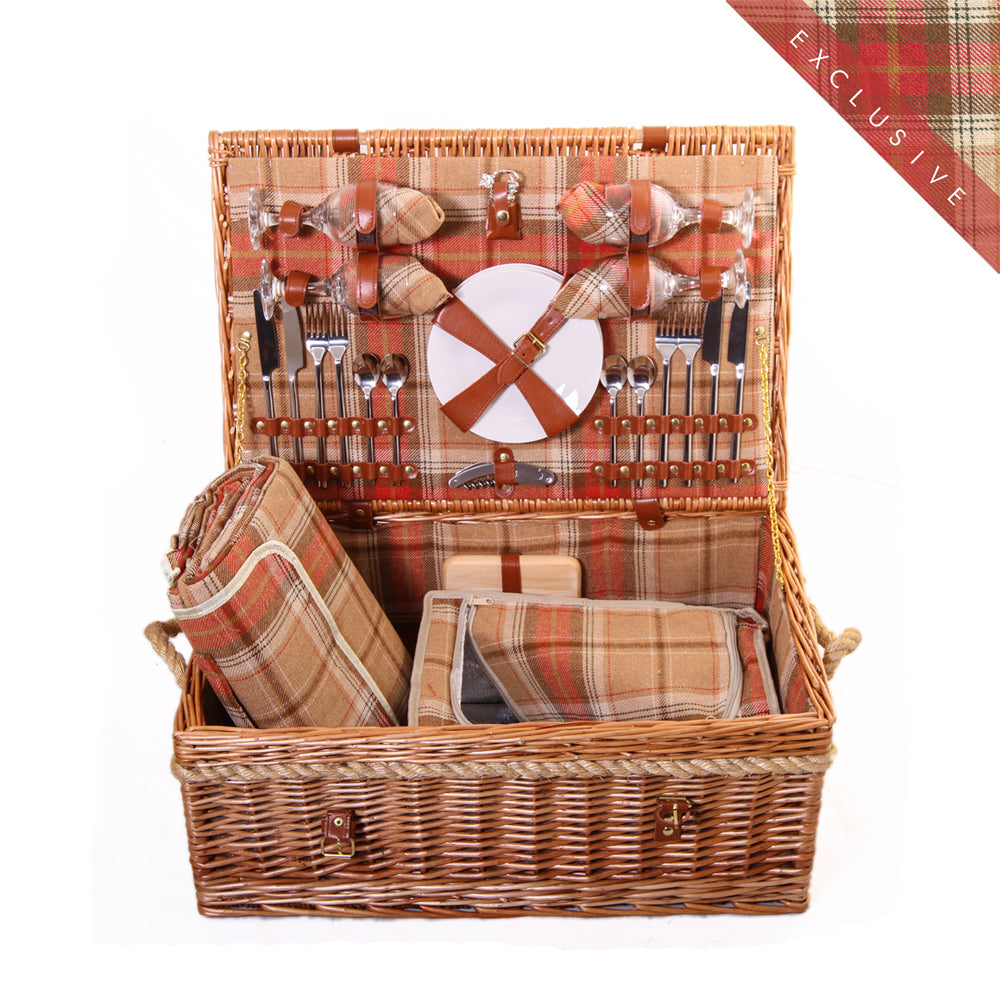 Amber Tartan Hamper for 4 - Eaton Hampers & Basketware
